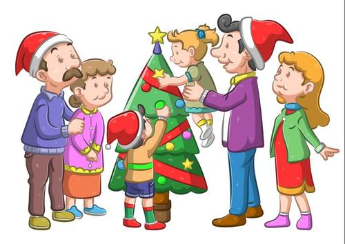 Christmas family party vector