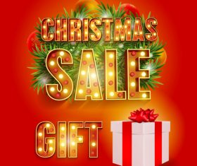 Christmas gift half price sale poster vector