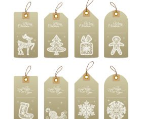 Christmas gift tags with lace hand drawn decorative elements vector