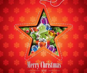 Christmas gift vector inside five-pointed star