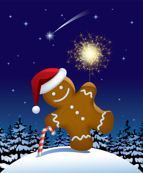 Christmas gingerbread and fireworks vector