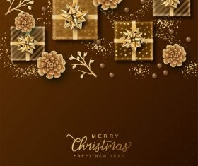 Christmas golden gift box vector