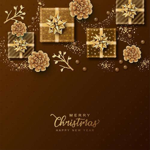 Christmas golden gift box vector