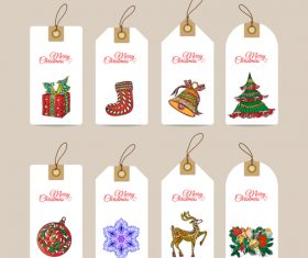 Christmas hand drawn decorative elements label vector