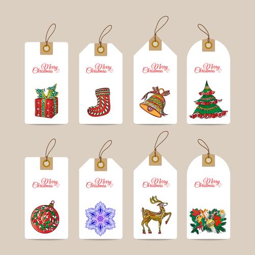 Christmas hand drawn decorative elements label vector