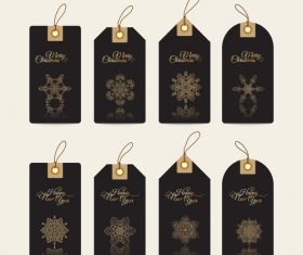 Christmas hand drawn golden snowflake decoration label vector