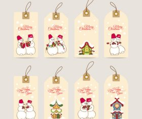 Christmas hand drawn snowman decoration label vector