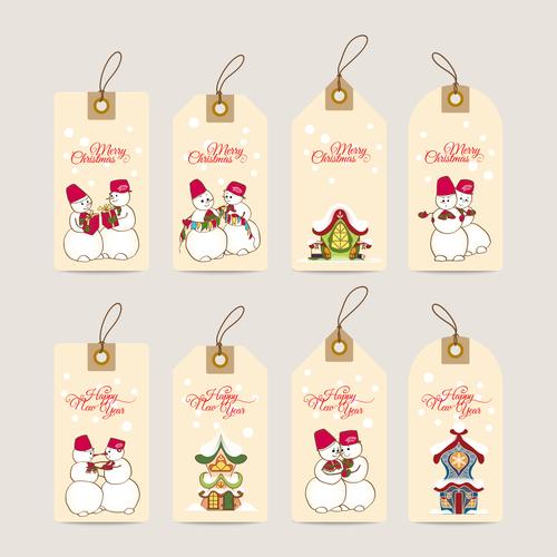 Christmas hand drawn snowman decoration label vector