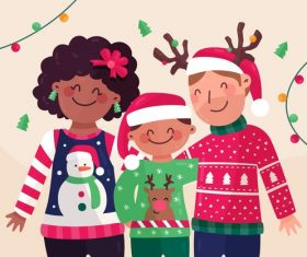 Christmas happy family cartoon vector