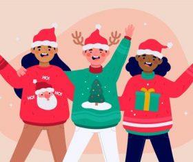 Christmas happy kids cartoon vector