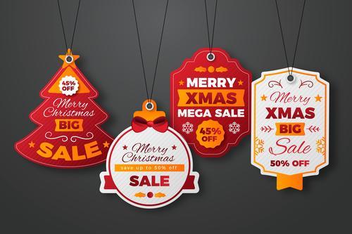 Christmas label sale emblem vector