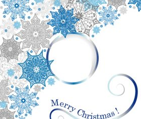 Christmas round frame with snowflakes vector