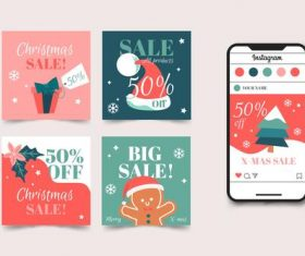 Christmas sale drawing banner vector on instagram
