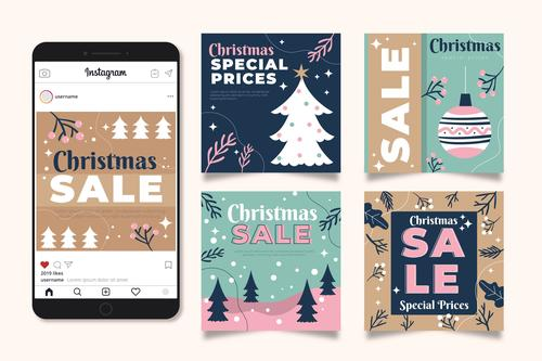 Christmas sale vector on instagram