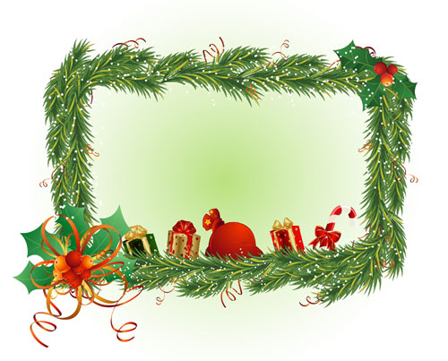 Christmas square frame vector