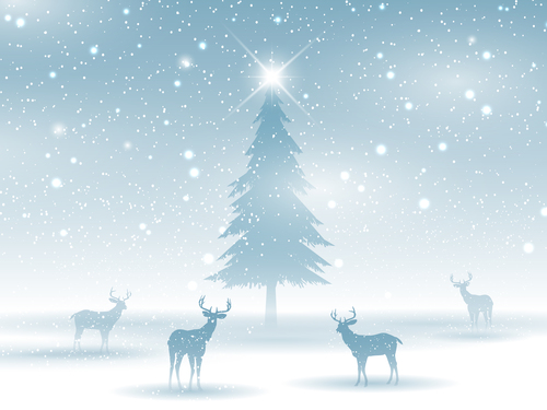 Christmas tree and reindeer background vector