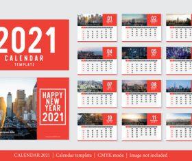 City background 2021 calendar vector