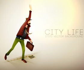 City life cartoon illustration vector