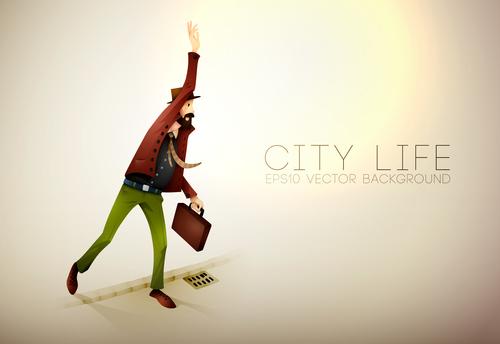 City life cartoon illustration vector