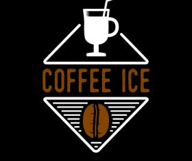 Coffee ice badges logo vector