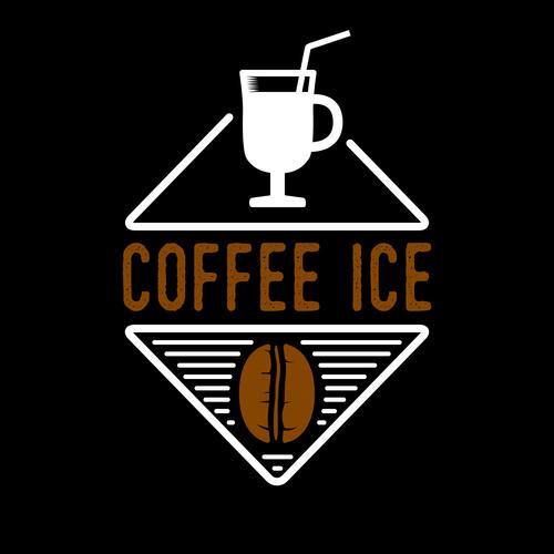 Coffee ice badges logo vector