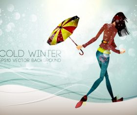 Cold winter cartoon illustration vector