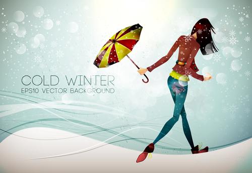 Cold winter cartoon illustration vector