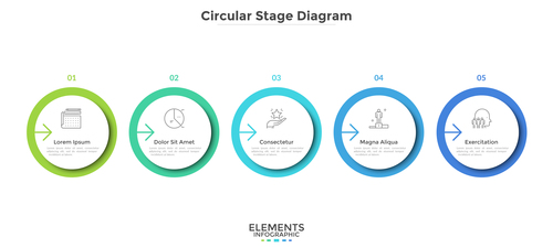 Color circular stage diagram information vector
