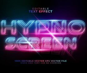 Color gradient editable font effect text vector