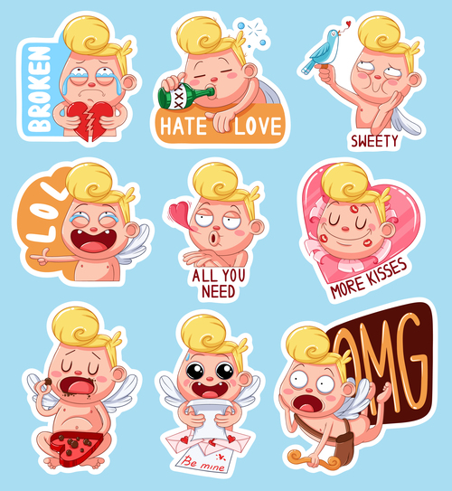 Color sticker valentine vector