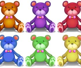 Color teddy bear vector