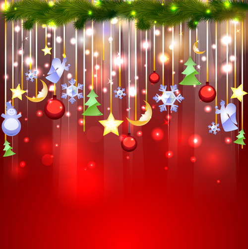 Color various Christmas tree decorations vector