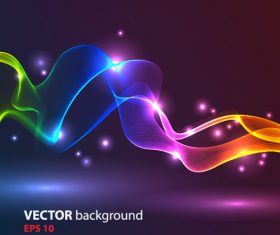 Colored light strips and blurred light spots background vector