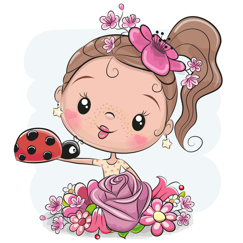 Comic maiden and ladybug vector