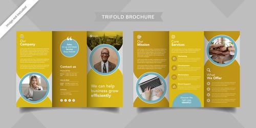 Company innovation trifold brochure vector