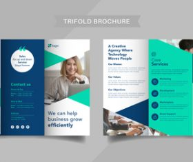 Company team trifold brochure vector