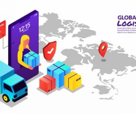 Concept illustration global logistics vector