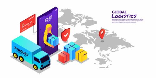 Concept illustration global logistics vector