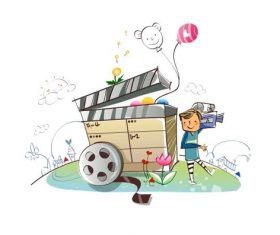 Concept illustration vector of little boy carrying video recorder
