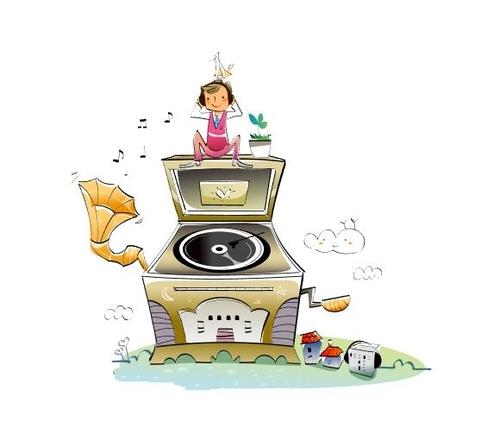 Concept illustration vector of little girl sitting on gramophone
