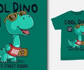 Cool dino and T-shirt printing design vector