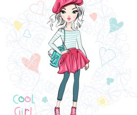 Cool girl cartoon vector