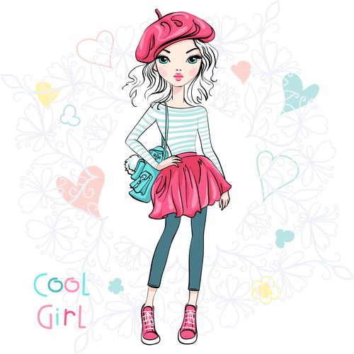 Cool girl cartoon vector