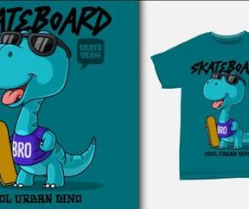 Cool urban dino T-shirt printing design vector