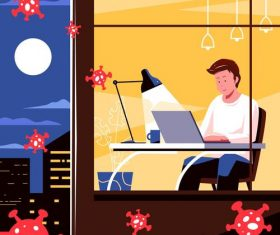 Curfew stay home office vector