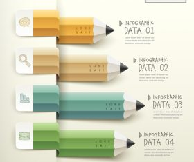 Curved colored pencils Infographic vector