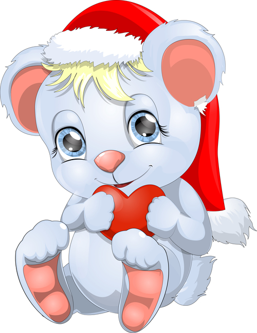 Cute animal vector wearing christmas hat