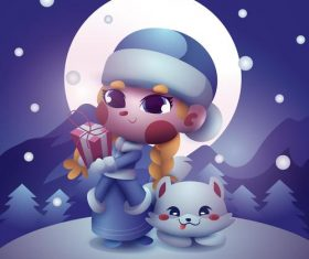Cute cartoon girl and cat vector