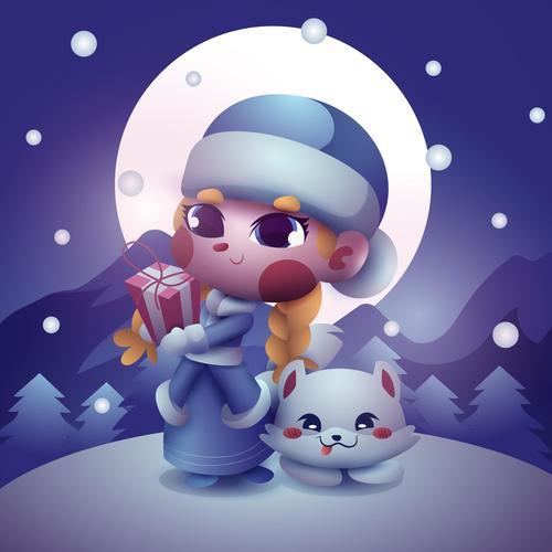 Cute cartoon girl and cat vector