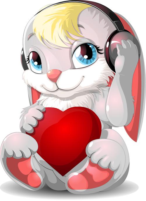 Cute rabbit and hearts vector
